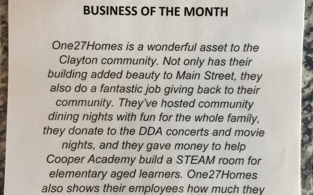 One27Homes named Outstanding Business of the Month